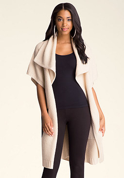 FAUX LEATHER POCKET CARDI at bebe