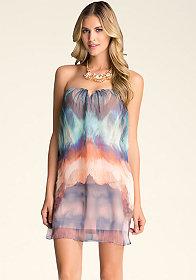 bebe Strapless Overlay Dress