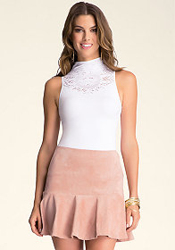 bebe Mock Neck Lace Top