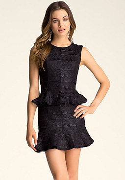 GODET PEPLUM DRESS at bebe