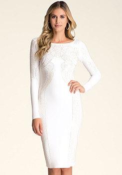bebe Embellished Midi Dress