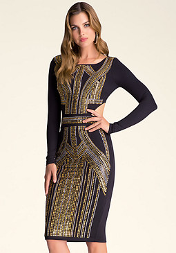 bebe Embellished Cutout Dress