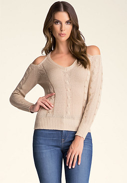 bebe Cold Shoulder Cable Sweater