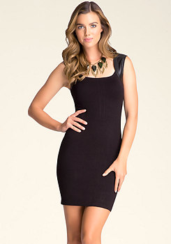 bebe Leatherette-Trimmed Dress