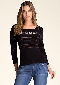 bebe Keyhole Stripe Sweater
