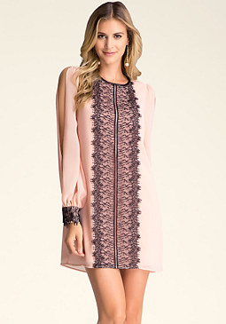 bebe Lace Trim Godet Dress