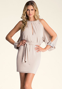 JEWEL COLD SHOULDER DRESS at bebe