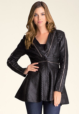 bebe Chain Trim Leather Coat