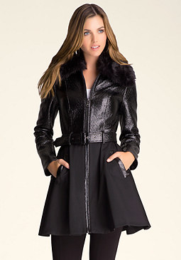 bebe Shiny Coated Trench Coat
