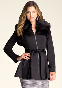 bebe Faux Fur Sateen Trench Coat