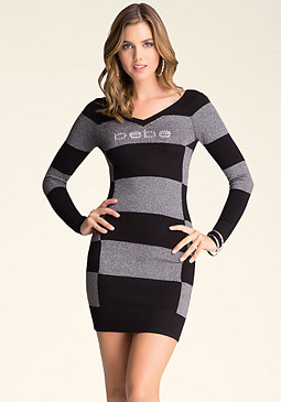 bebe Checkered V-Neck Dress