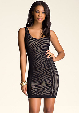 bebe Zebra Lace Tank Dress