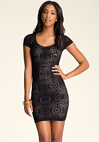 bebe Eliana Open Back Lace Dress