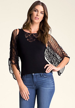 bebe Slash Sleeve Crochet Top