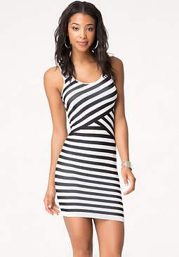 bebe Zoey Striped Tank Dress