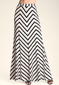 bebe Mitered Stripe Maxi Skirt