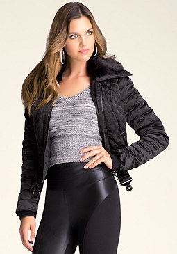 bebe Quilted Bomber Jacket
