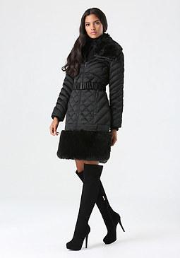 bebe Faux Fur Belted Puffer Coat