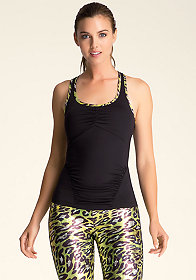 bebe Contrast Neck Shirred Tank