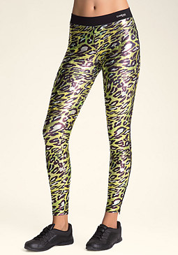 bebe Printed Zipper Leggings