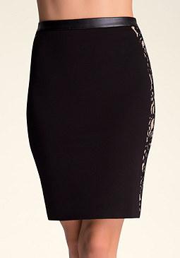 bebe Kirstie Lace Midi Skirt