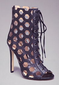 Ashli Lace-Up Cage Booties at bebe