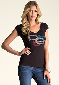 bebe Twist Back V-Neck Tee