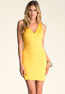 Deep V Scuba Dress at bebe