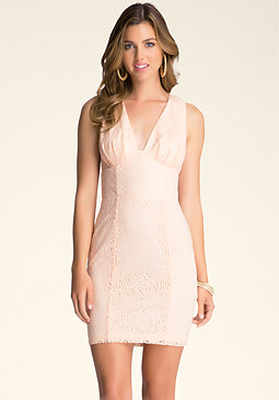 bebe Deep V Lace Dress
