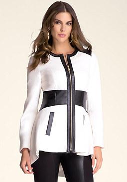 bebe Leah Contrast Wool Coat