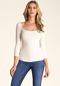 bebe 3/4 Sleeve Open Back Top