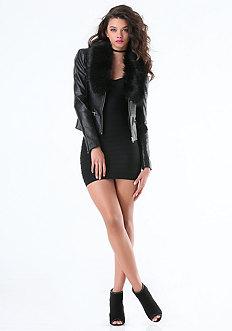 Faux Fur & Croc Moto Jacket