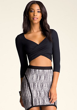 3/4 Sleeve Wrap Top at bebe