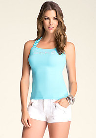 bebe Double Twist Halter Tank