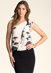 bebe One Shoulder Flounce Top