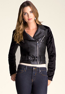 bebe Leslie Faux Leather Jacket