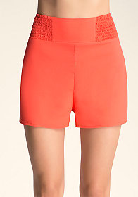 bebe Smocked High Waist Shorts