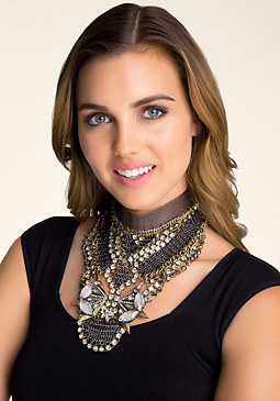 bebe Mesh & Crystal Bib Necklace