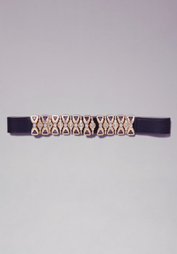 Multi-Jewel Stretch Belt at bebe