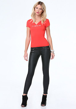 bebe Split Neck Graphic Tee