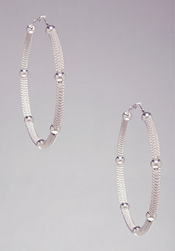 MESH & BEAD HOOPS at bebe