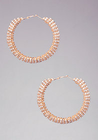 Chain Wrap Crystal Hoops at bebe