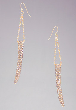 bebe Crystal Horn Drop Earrings