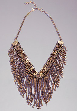 bebe Bead Fringe Necklace