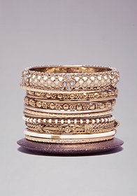 bebe Crystal & Wood Bangle Set
