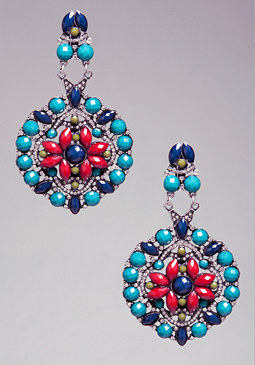 bebe All Over Bead Earrings