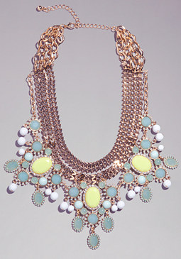 bebe Chain & Jewel Necklace