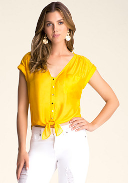 bebe Drape Back Tie Front Top