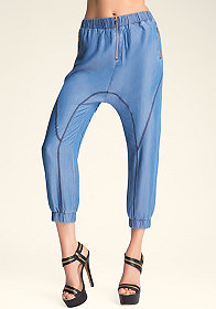 bebe Zip Tencel Crop Pants