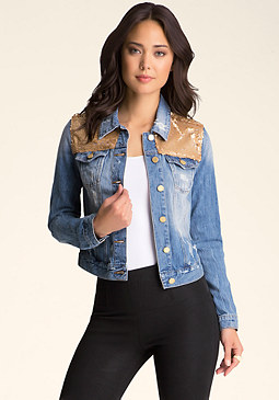 bebe Sequin Denim Jacket